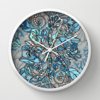 Let Me Lead You - blue grey doodle pattern Wall Clock by Micklyn