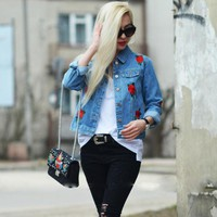 Short Jean Jacket for Women with Rose Embroidery