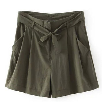 Dark Green High Waist Shorts