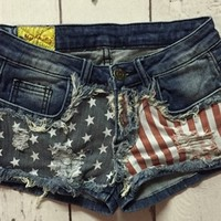 Distressed American Denim Shorts