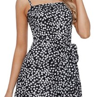 Ruffle Wrap Hemline Black Flourish Floral Sundress