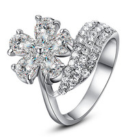 In All Your Floral Glory Vegan Diamond Fashion Statement Ring