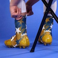 Savage Word Stars Gold Navy White Spats / Cleat Covers