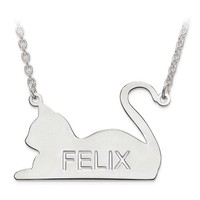 Sterling Silver Personalized Engraved Cat Name Pendant Necklace