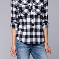 Plaid & Check Roll Up Long Sleeve 1/2 Button Down Low Cut Hem Blouse