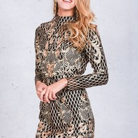 Backless Gold Sequin Dress Elegant Floral Plaid Bodycon Dress Autumn