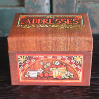 Country Chic faux wood address box with cards