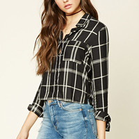 Boxy Plaid Print Shirt