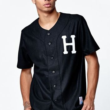 HUF Outfield Black Baseball Jersey - Mens Tee - Black