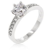 Petite White Engagement Ring, size : 10