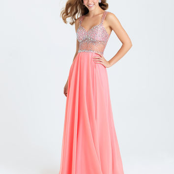 Madison James 16-399 In Stock Coral Size 6 Jeweled Sheer Illusion Chiffon Prom Dress