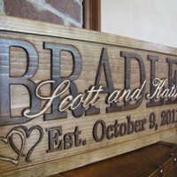 Personalized Family Name couples Sign CARVED wood plaque