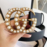 GUCCI Classic Personality Joker Double G Buckle Belt Pearl