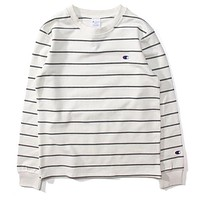 Champion New fashion bust embroidery logo stripe long sleeve top sweater Black