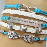 """owl  Bracelet,hearts bracelet, infinity bracelet, """"Where there is a will, there is a way"""", -Christmas gift -  Best Chosen Gift"""