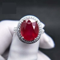 Elegant Engagement Ring with Natural Ruby 925 sterling Silver Gemstone RING