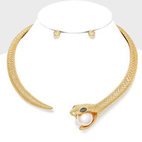 gold snake pearl hinged choker collar necklace earrings