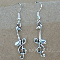 Music earrings, lovely earrings, charm earrings, fashion earrings, personality earrings,style earrings, is the love of music,silver earrings