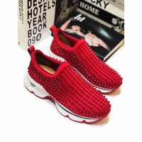 Cl Christian Louboutin Loafer Style #2352 Sneakers Women Fashion Casual Sneaker sport running white Shoes Best quality RED
