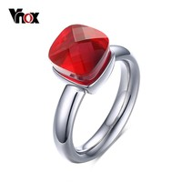 VNOX Elegant Stone Ring Stainless Steel Metal Finger Bague Femme Gold-color Silver-color