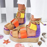 Fashion Hot Selling Thick-soled Flat-soled Lace Sandals