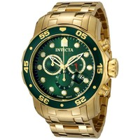 Invicta 0075 Men's Pro Diver Gold Tone Stainless Steel Green Dial Chronograph Watch