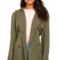 Olive & Oak Kennedy Olive Green Trench Coat
