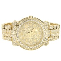 Men's Prayer Hands Gold Finish  Hip Hop Watch