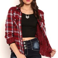 Long Sleeve Mixed Plaid Button Front Top