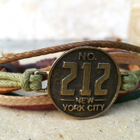 FREE SHIPPING-Bronze New York City 212 Label Logo, Men, Woman Bracelet, Multi Color and Strands. Handmade, Country Jewelry, Unisex. 102