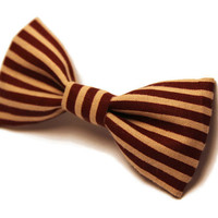 Dog Bow Tie - Puppy, Kitten, Cat - Small - Pet Accessories, Collar Bow - Striped, Brown, Tan, Burgundy