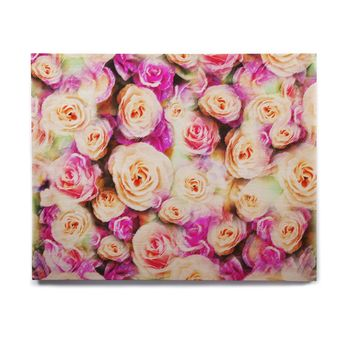 "Dawid Roc ""Sweet Pastel Pink Rose Flowers"" Multicolor Floral Birchwood Wall Art"