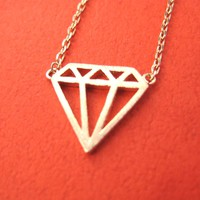 Diamond Shaped Outline Cut Out Pendant Necklace in Rose Gold | DOTOLY