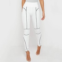 2020 new women's reflective striped sexy trousers