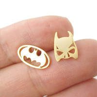 30 Pairs- S076 Batman Themed Bat Mask and Logo Shaped Stud Earrings in Silver DC Comics Super Heroes Themed Jewelry