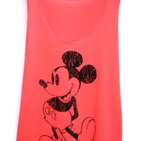 Mickey Mouse & Friends Disney Tank Top Sport Clothing Neon Pink Workout Shirt Beach T-Shirt Woman Vest BUY 2 GET 1 FREE