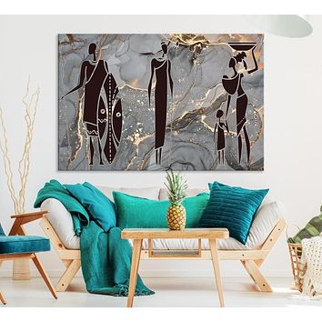 Extra Large African American Wall Art African Women Painting Canvas Print