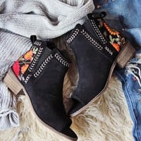 Lovell Peep Toe Booties in Black