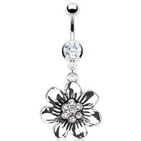 Body Accentz® Belly Button Ring Navel Vintage Casted Flower CZ Body Jewelry 14 Gauge