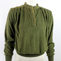 Vintage 80s - Olive Green Ribbed Soft Corduroy - Ruche Shoulders - Mustard Yellow Piping - Long Sleeve Slouchy Sweatshirt Top Shirt