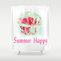 pretty pink summer flowers, summer happy floral photo art. Shower Curtain by NatureMatters