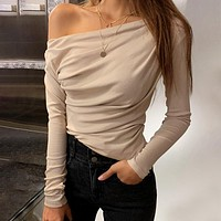Casual Oblique Collar Women Knitted T-shirts Long Sleeve Rubbish Female Short Tops Solid Color Slim Flexible Ladies Tops
