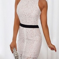 Hello There White Black Lace Sleeveless Beaded Mock Neck Cut Out Bodycon Midi Dress