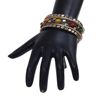 Charming Muticolor Bangles Studded With Black Metallic Golden