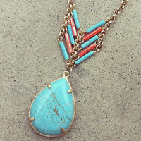 Turquoise Heishi Pear Necklace [3152] - $23.00 : Vintage Inspired Clothing & Affordable Summer Frocks, deloom   Modern. Vintage. Crafted.