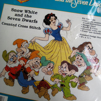 Vintage Disney Snow White and the Seven Dwarfs Counted Cross Stitch Kit NEW in Sealed Package Disney Princess Cross Stitch
