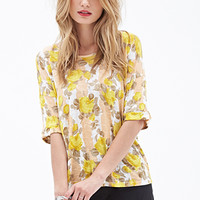 LOVE 21 Watercolor Floral Stripe Top Ivory/Yellow