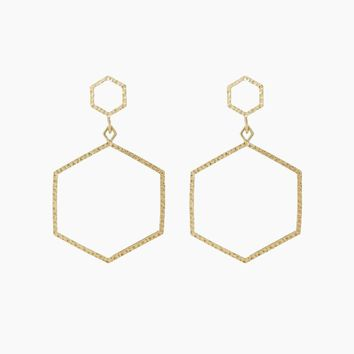 The Hammered Hex Statement Drop Earrings - Gold
