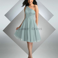 short a-line one shoulder bridesmaid dresses   homecoming dress   chiffon bridesmaid gowns   simple elegant dress for wedding party