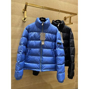 Dior Warm Winter Down Jacket Windproof Hooded Collar Men's Parka Male Big Coat Smart Casual Covered Button